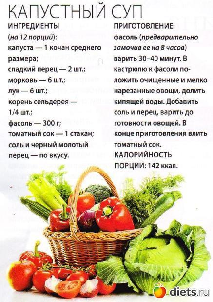 Диета на овощном супе с рецептами
